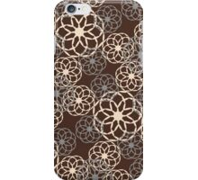 Brown and Silver Floral Pattern iPhone Case/Skin