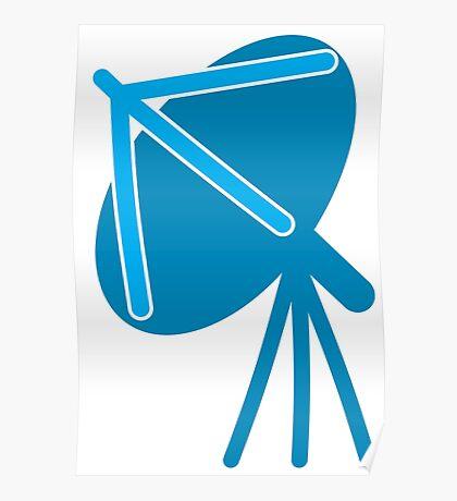 Satellite communication dish in blue Poster