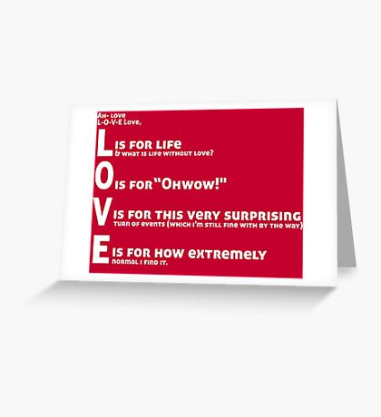 Love, L-O-V-E Love / TV / Friends *Updated Version* Greeting Card