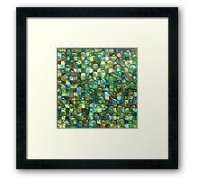 Wet Water Green Yellow Square Tile Mosaic Pattern Framed Print