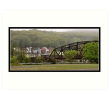 Fog Lifting Over Easton, PA Art Print