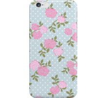 Shabby Chic Polka Dots, Roses - Blue Pink Green  iPhone Case/Skin