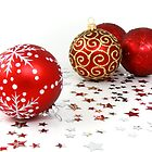 Shiny Christmas Glittered Ornaments - Red Gold by sitnica