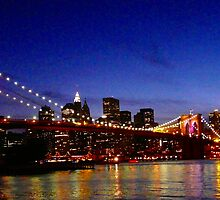 RAINBOWS IN THE NIGHT (BROOKLYN BRIDGE) by KENDALL EUTEMEY