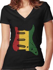 Reggae Rasta Guitar Pickguard  Women's Fitted V-Neck T-Shirt