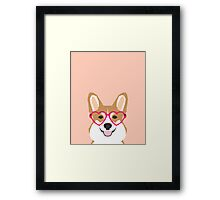 Corgi Love - Welsh Corgi funny nerd art dog lover gifts for pet owners customizable dog gifts Framed Print