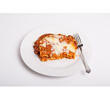 Lasagna on White Photographic Print