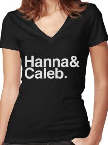 Hanna & Caleb - white text Women's Fitted V-Neck T-Shirt