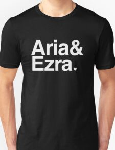 Aria & Ezra - white text Unisex T-Shirt