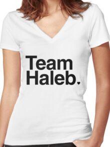 Team Haleb - black text Women's Fitted V-Neck T-Shirt