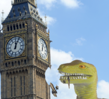 Dinosaur attacks the UK Sticker