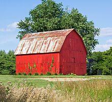 Brilliant Red Barn by Kenneth Keifer