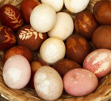 Painted Easter Eggs, Straw Basket - Brown White  by sitnica