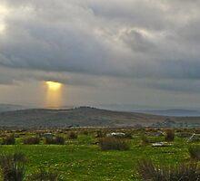 Shaft of Light over Dartmoor Devon England by Eugene Francis Cummings