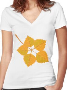 Yellow leaves Women's Fitted V-Neck T-Shirt