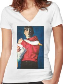 The Boy with the Bird Women's Fitted V-Neck T-Shirt