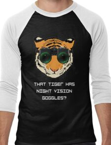 THAT TIGER HAS NIGHT VISION GOGGLES? - The Interview (Dark Background) Men's Baseball ¾ T-Shirt