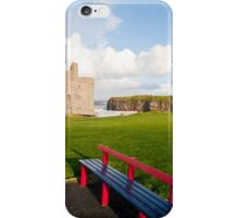 benches with views of Ballybunion castle and coast iPhone Case/Skin