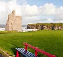benches with views of Ballybunion castle and coast by morrbyte