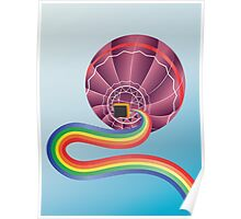 Air balloon with rainbow Poster