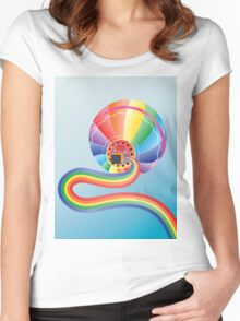 Air balloon with rainbow 2 Women's Fitted Scoop T-Shirt