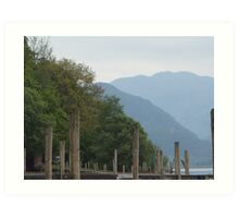 Derwentwater and the mountains from the pier Art Print