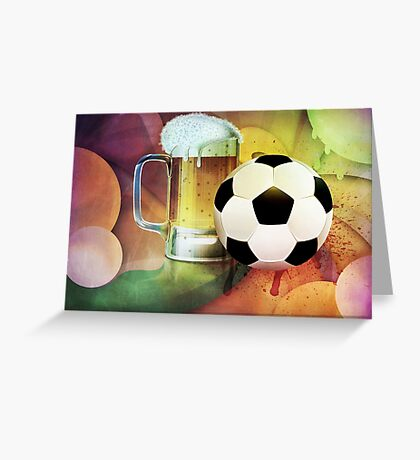 Beer Glass and Soccer Ball Greeting Card