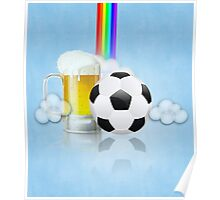 Beer Glass and Soccer Ball 2 Poster
