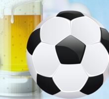 Beer Glass and Soccer Ball 2 Sticker