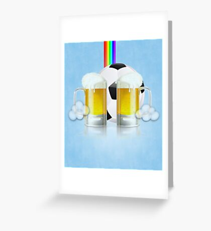 Beer Glass and Soccer Ball 3 Greeting Card