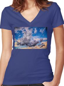 Cloudscape Number 8055 Women's Fitted V-Neck T-Shirt