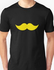 Yellow Blond Mustache with Black Background T-Shirt