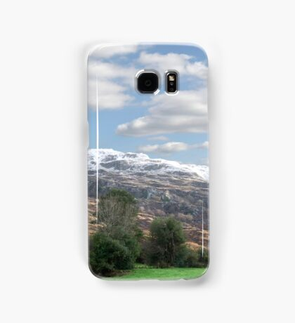 rocky mountain and fields countryside snow scene Samsung Galaxy Case/Skin
