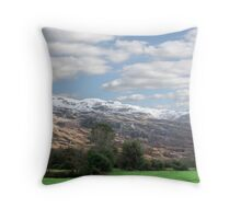 rocky mountain and fields countryside snow scene Throw Pillow