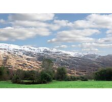 rocky mountain and fields countryside snow scene Photographic Print