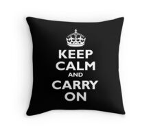 Keep Calm & Carry On, Be British! Blighty, UK, United Kingdom, white on black Throw Pillow