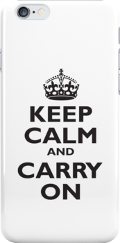 Keep Calm & Carry On, Be British! Blighty, UK, United Kingdom, Black on white by TOM HILL - Designer