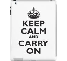 Keep Calm & Carry On, Be British! Blighty, UK, United Kingdom, Black on white iPad Case/Skin