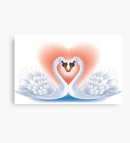 Swans heart Canvas Print