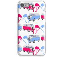 Funny Flamingos Retro Hippie Minivans iPhone Case/Skin