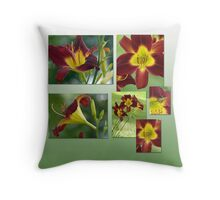 Daylilies in Burgandy Throw Pillow