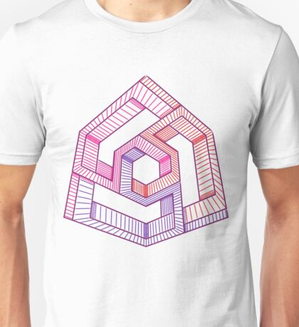 Perspective illusion cube, colour Unisex T-Shirt