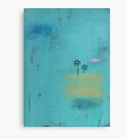 Aqua flowers Canvas Print