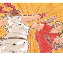 Ken vs. Ryu by penpaperflava