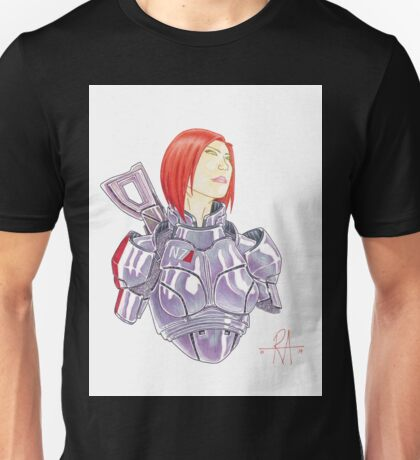 Mass Effect Commander Shepard FemShep Fan Art Bust Unisex T-Shirt