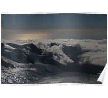 Looking towards the Tasman sea from the mount Cook glaciers Poster