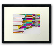 multiple colorful books stack Framed Print