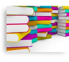 multiple colorful books stack Canvas Print