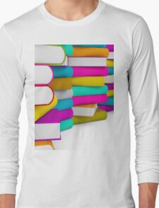 multiple colorful books stack Long Sleeve T-Shirt