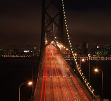 Bay Bridge at night by Johan Lindstrom